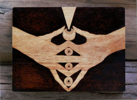 Hand-Eye Coordination Woodburned Artwork