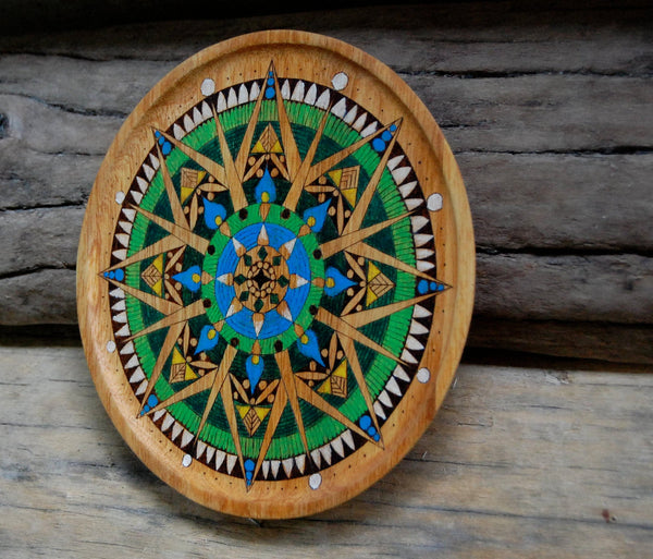 Coastal Concentration - Woodburned Mandala