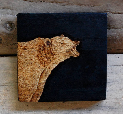 Grizzly Bear Woodburning
