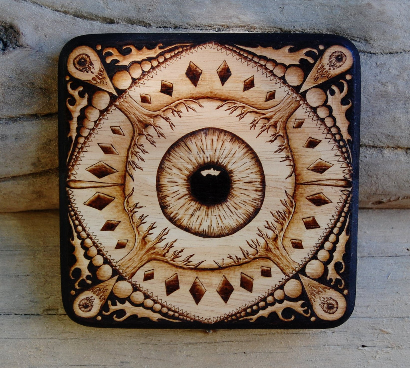 Mandala Eye Woodburning on Repurposed Wood