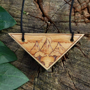 Hand Carved and Woodburned Landscape Pendant