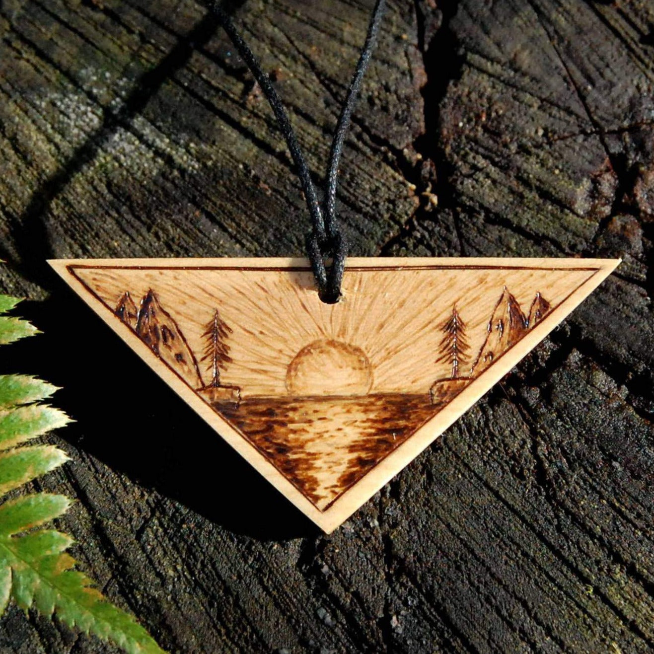 Sunset Woodburned Pendant