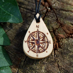Hand Carved and Woodburned Compass Pendant