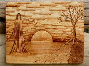 Rising Sun Goddess Woodburning