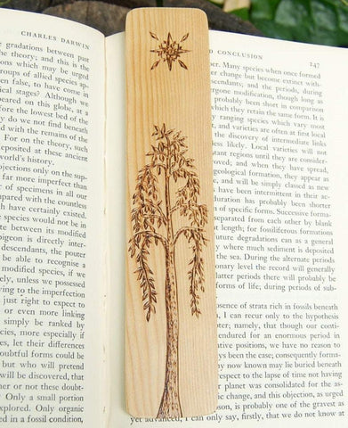 Tolkien Inspired Tree Bookmark made from Recycled Wood