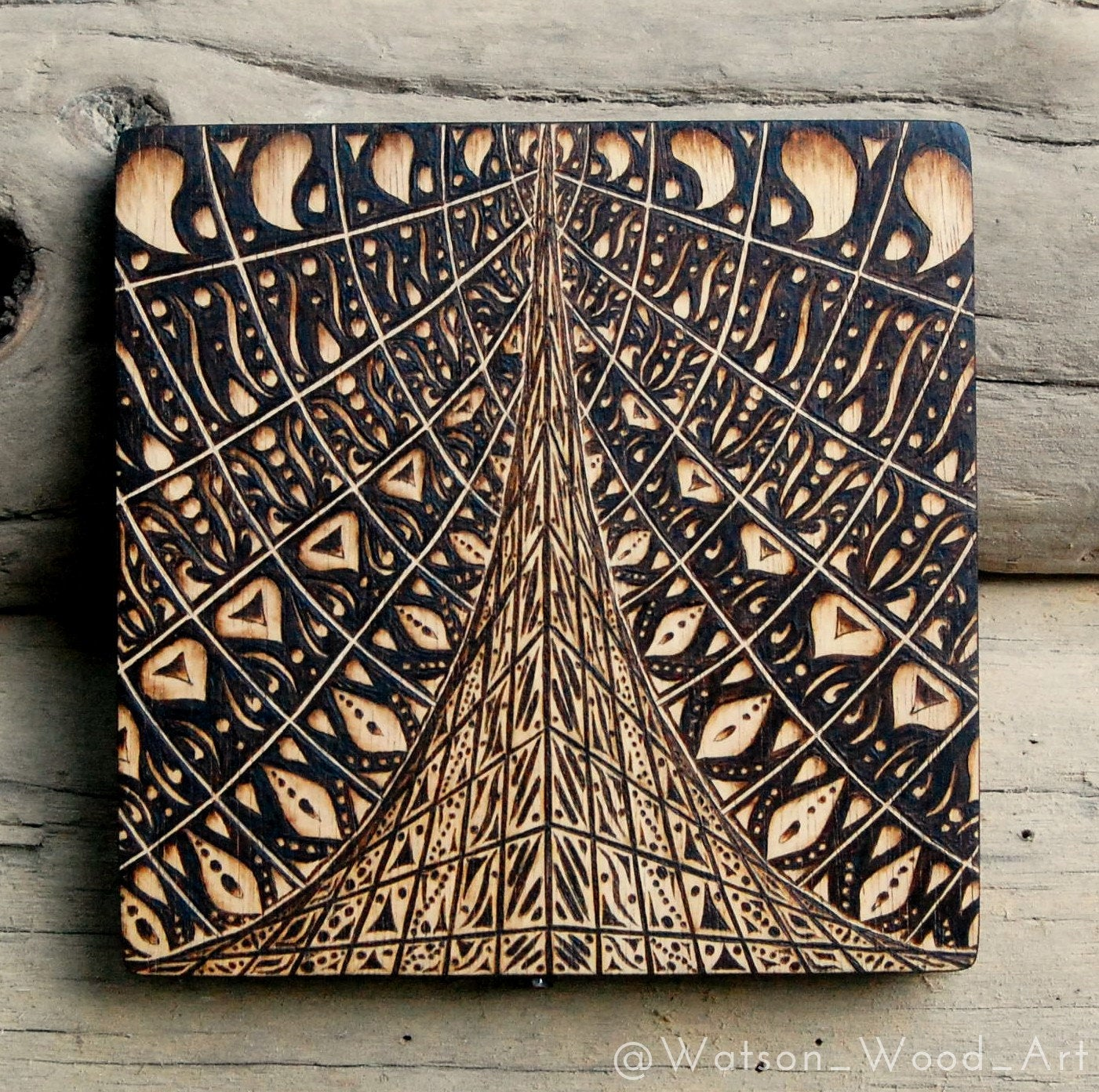 Hand Burned Spire Mandala on Repurposed Wood