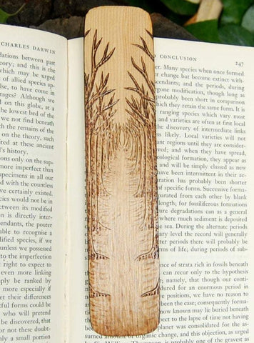 Tree Path Bookmark made from Recycled Wood