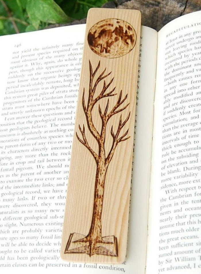 Tree Growing out of a Book Bookmark made from Recycled Wood