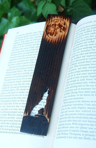 Howling Wolf Bookmark made from Recycled Wood