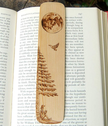 Reading Under a Tree Bookmark made from Recycled Wood