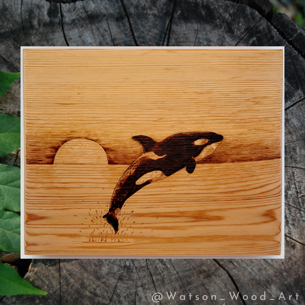 Leaping Orca on Red Cedar