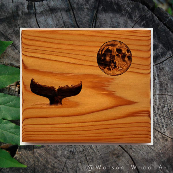 Whale Tail & Moon on Red Cedar