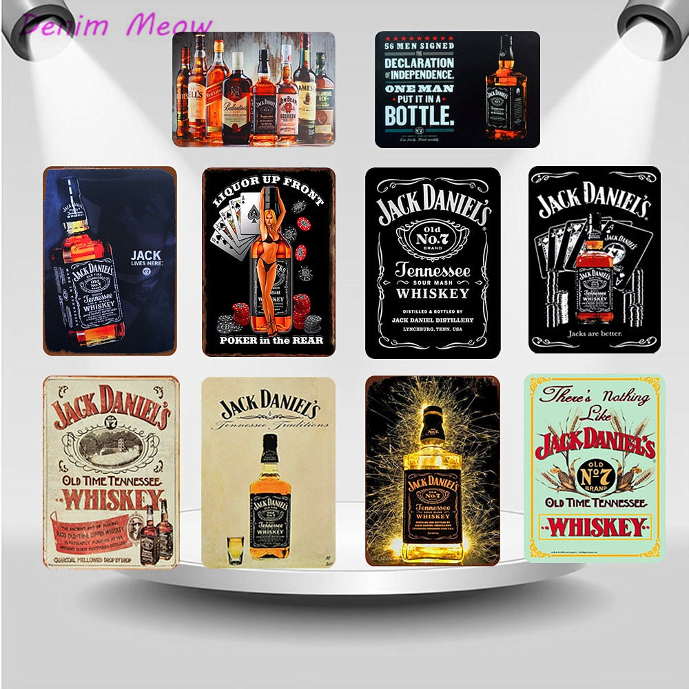 American Jack WHISKEY Plaque Metal Vintage Tin Signs