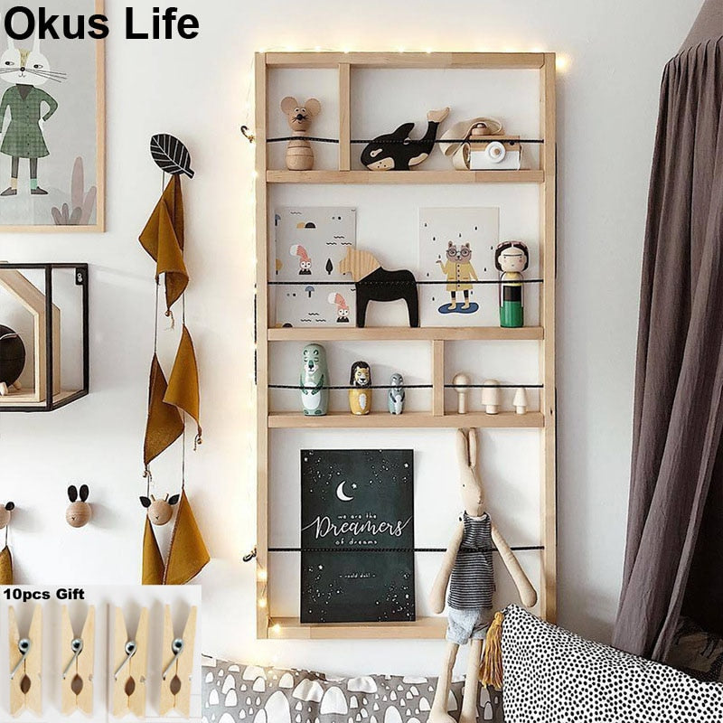 European Wall Mounted Wood Decorative Shelf