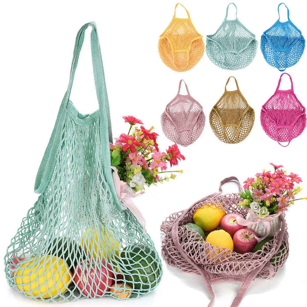 New Mesh Net Turtle Bag String Shopping Bag Reusable Fruit Storage Handbag Totes