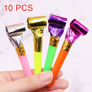 10 Pcs/Set Funny Blowouts Whistles Birthday Party Blow Outs Wedding Celebration Noice Maker