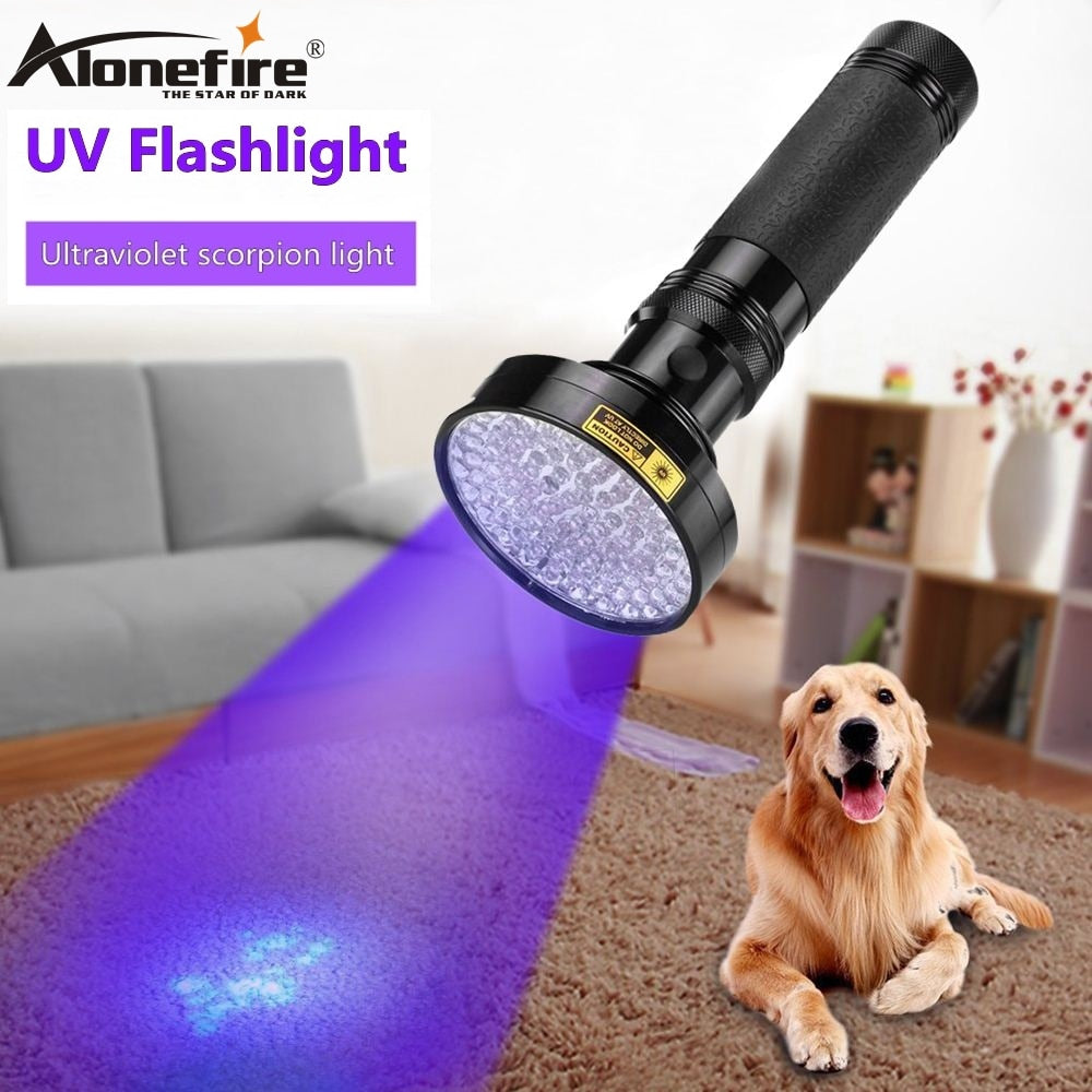ALONEFIRE 100 LED High power UV Light 395nm pet urine Money Detection Torch lamp AA cell