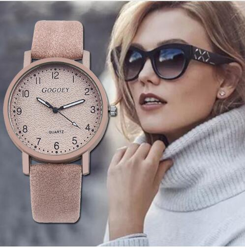 Leather Rhinestone Analog Quartz women's watch
