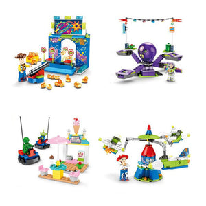 4PCS Toy story 4 Amusement Park Block Set  Woody Buzz Lightyear building bricks Kids toys  no box