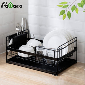 Kitchen Dish Drainer Large Dish Drying Rack with Drip Tray Silverware Storage Basket Anti-Rust Metal Drainer Shelf for Kitchen