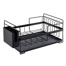 Load image into Gallery viewer, Kitchen Dish Drainer Large Dish Drying Rack with Drip Tray Silverware Storage Basket Anti-Rust Metal Drainer Shelf for Kitchen