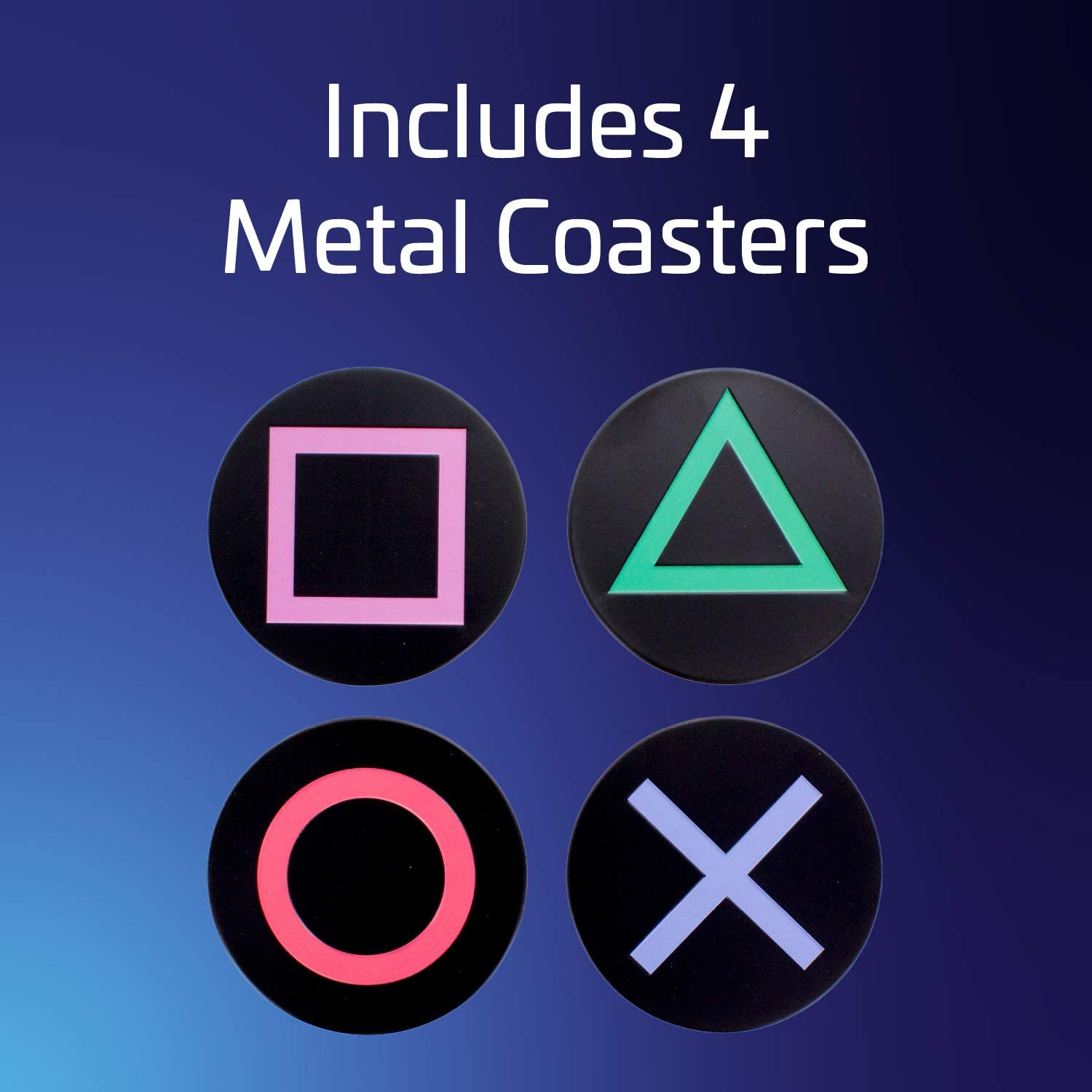 COASTERS PLAYSTATION ICONS METAL (4 PACK)