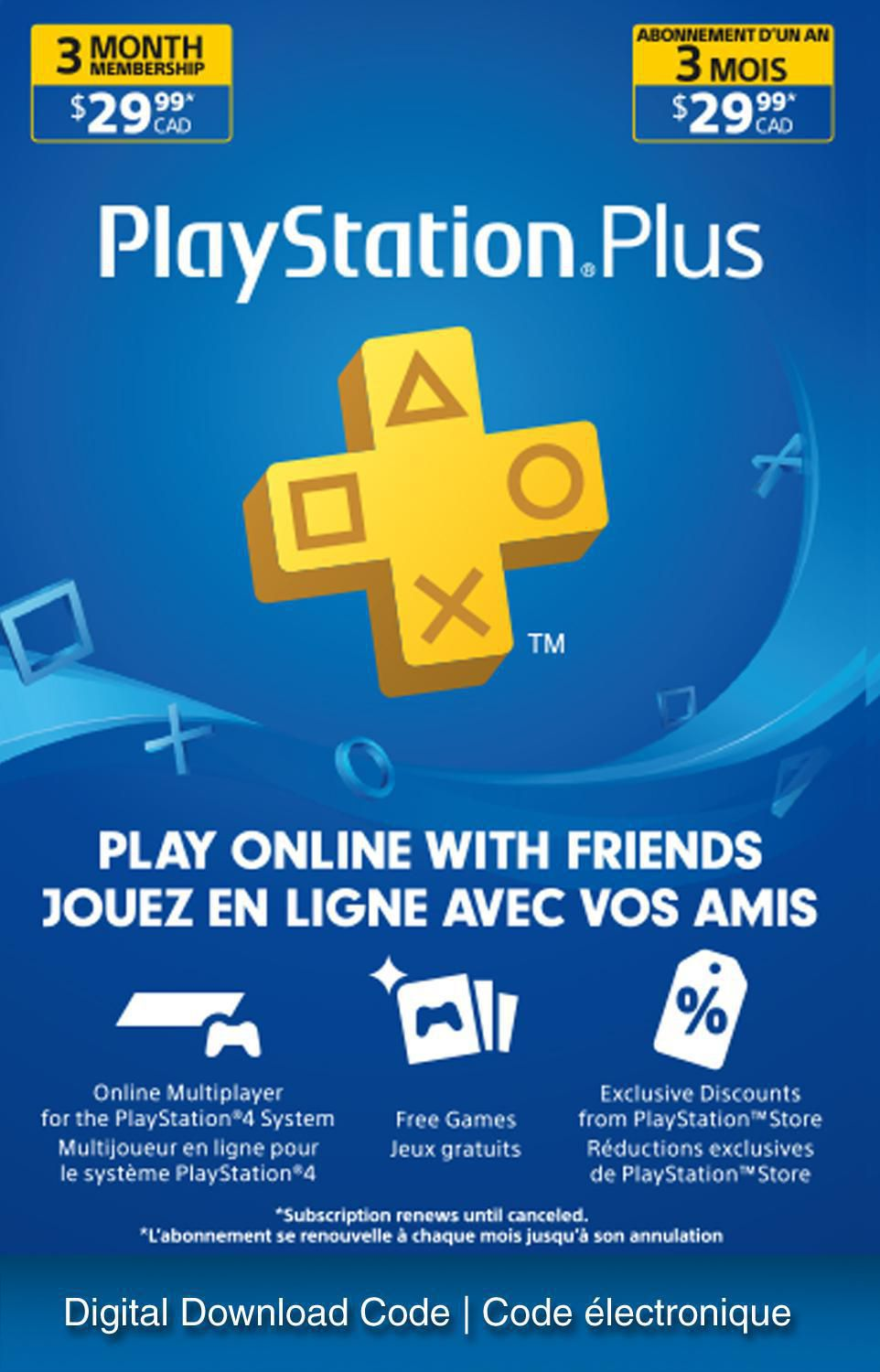 3 Month Playstation Plus Psn Membership Card (New) 3 Month