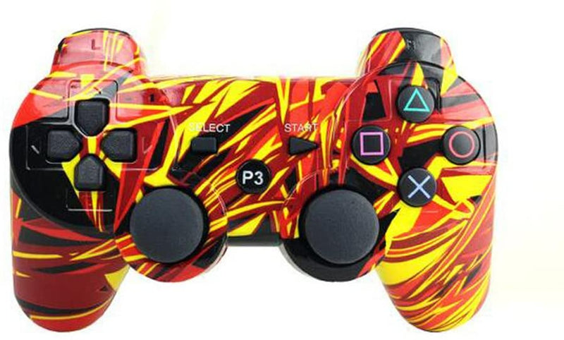PS3 WIRELESS BLUETOOTH CONTROLLER YELLOW/RED ABSTRACT (GENERIC)