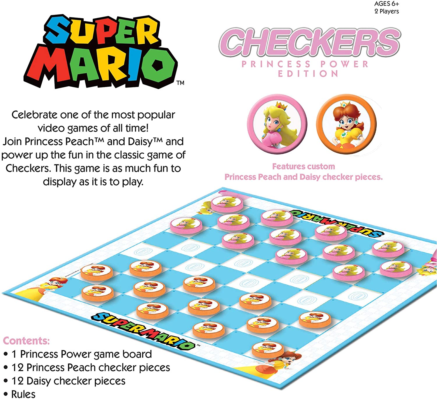 CHECKERS NINTENDO SUPER MARIO PRINCESS POWER
