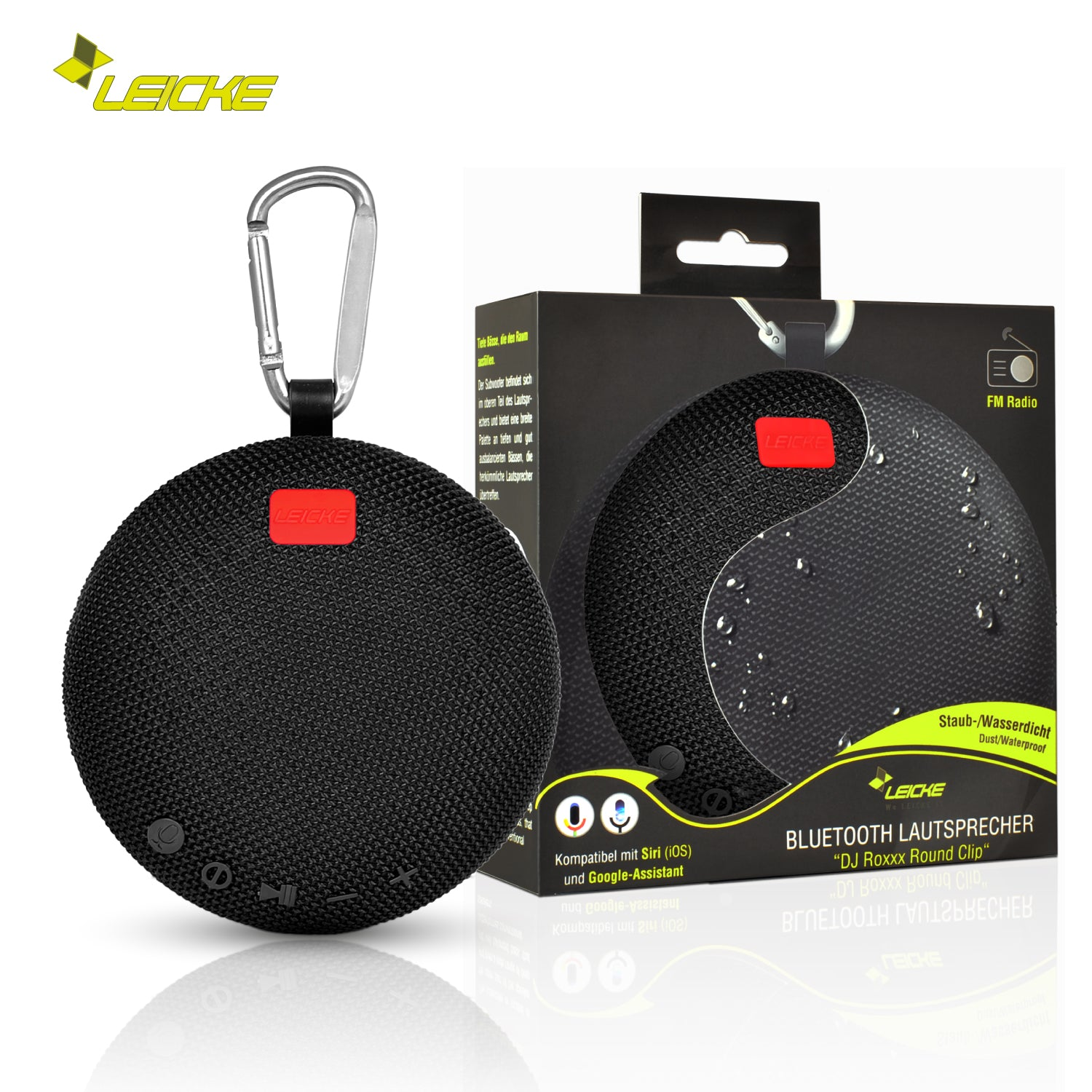 SPEAKER ROUND BLUETOOTH PORTABLE WITH CLIP (LEICKE) (BLACK)