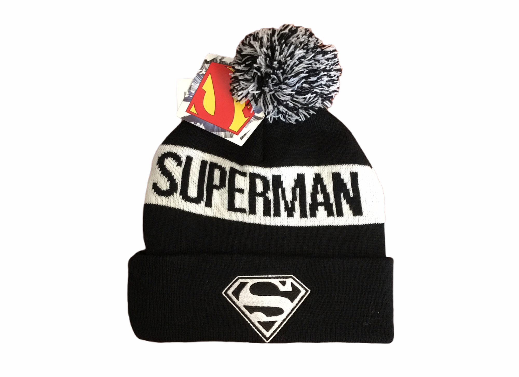 Superman Hat Black Logo One Size Fits All Tuque