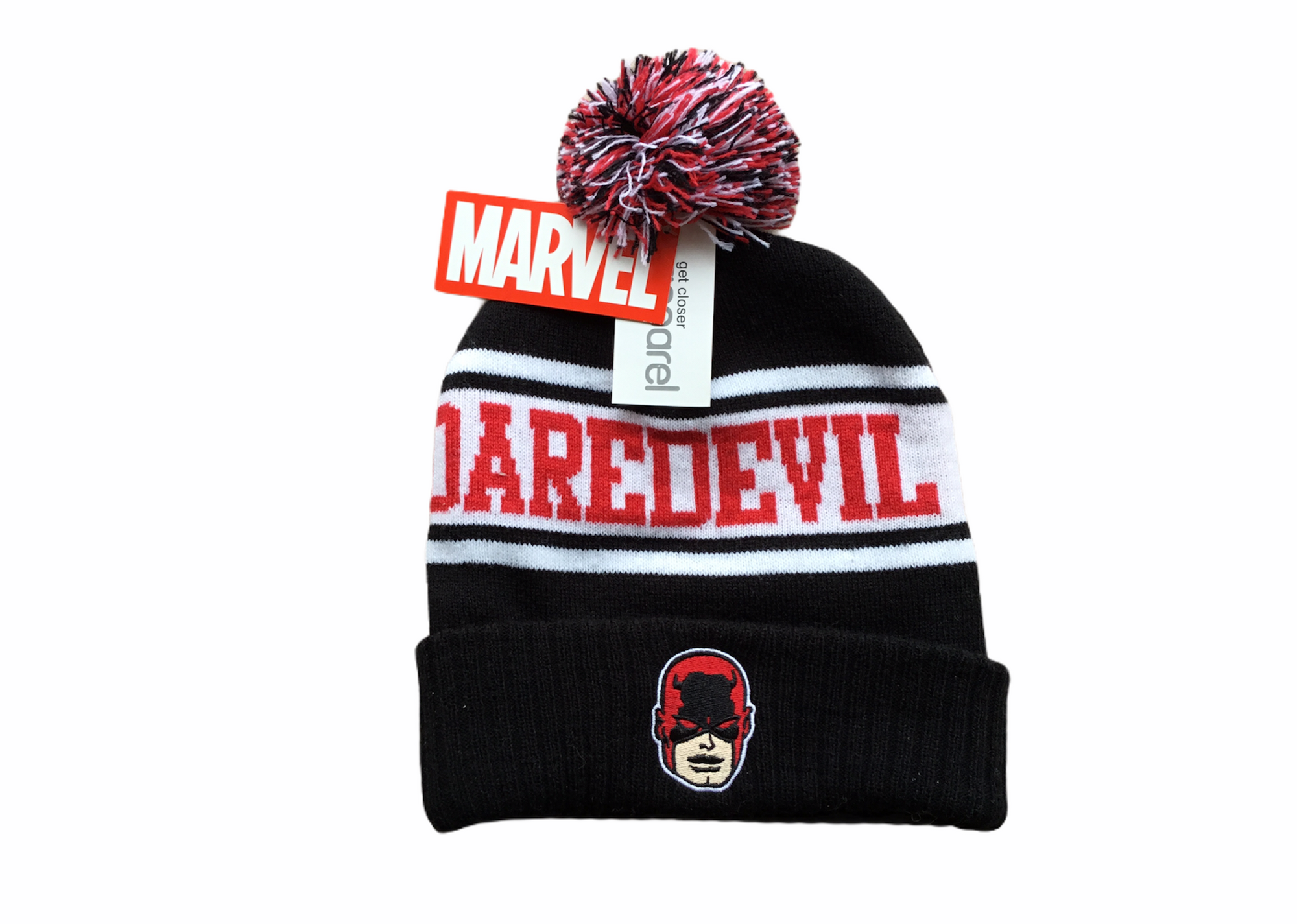 Daredevil Hat Black Pom One Size Fits All Tuque