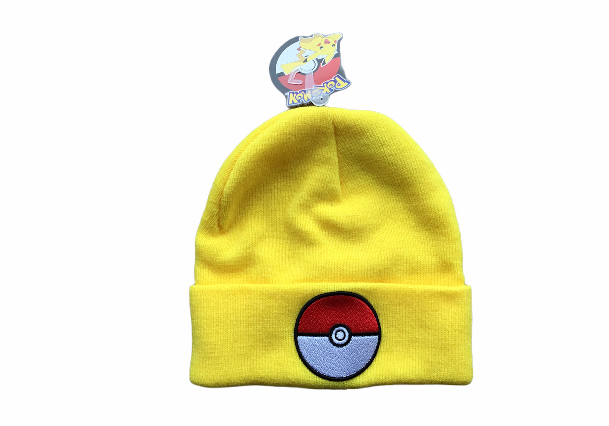 Pokemon Hat One Size Fits All Yellow Tuque Pokeball