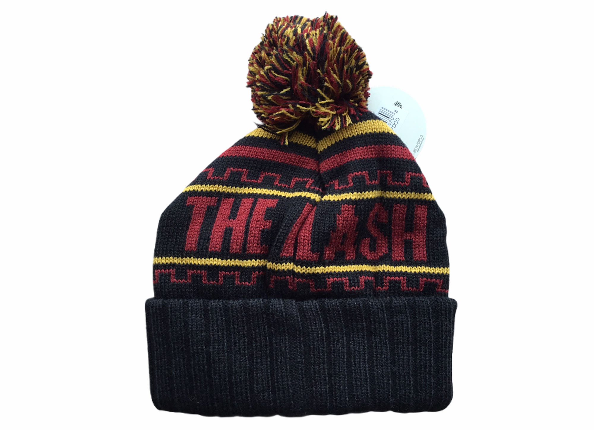 The Flash Hat Black With Pin One Size Fits All Tuque