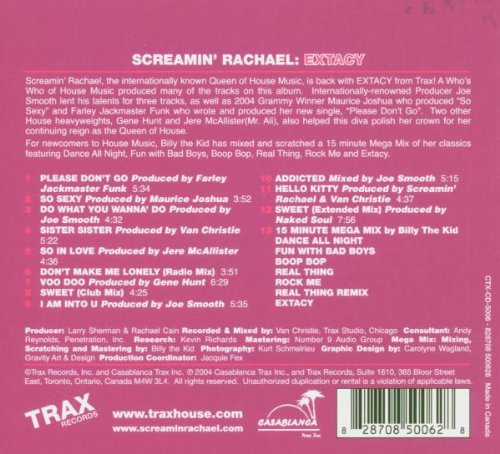 Extacy [Audio CD] Screamin Rachael (Various)