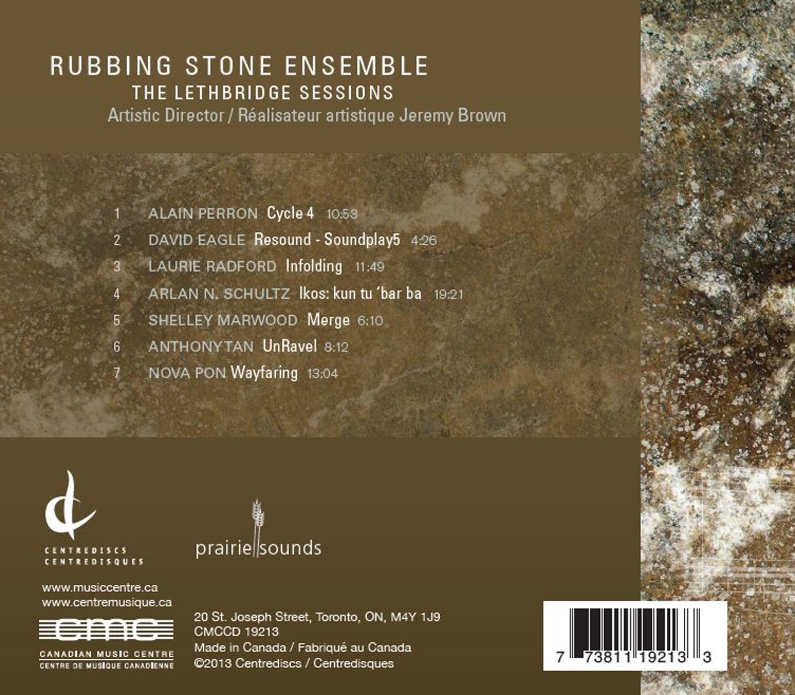 LETHBRIDGE SESSIONS [Audio CD] Rubbing Stone Ensemble and Brown