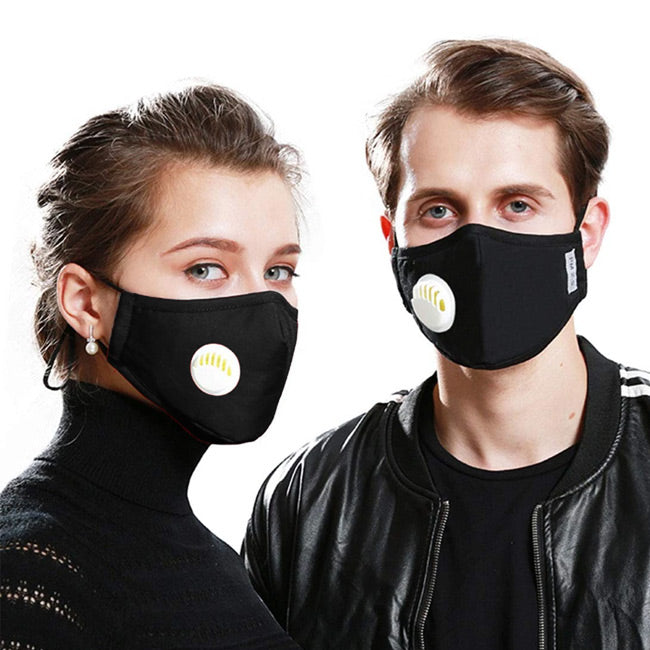REUSABLE COTTON MASK WITH VALVE WASHABLE INCLUDES PM2.5 FILTER
