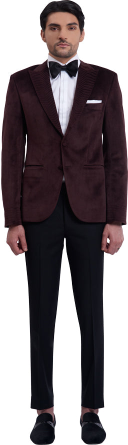 Burgundy dinner jacket ensemble