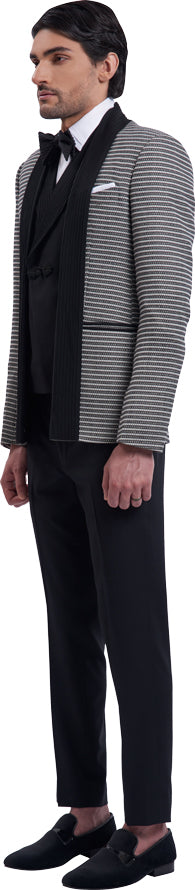 Black open jacket ensemble