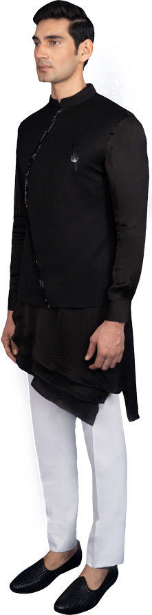 Black Bandi Kurta Ensemble