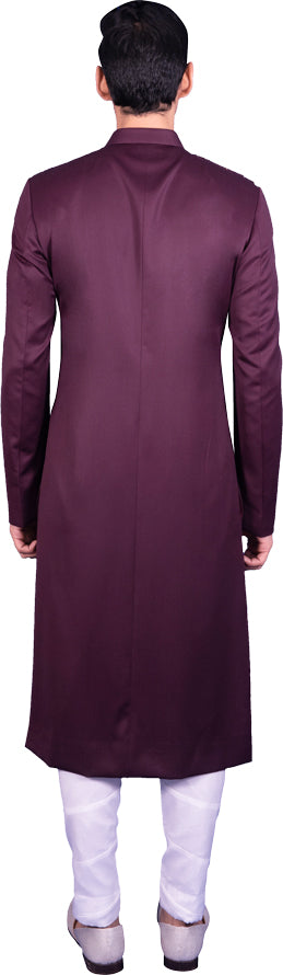 Deep Wine Sherwani Ensemble