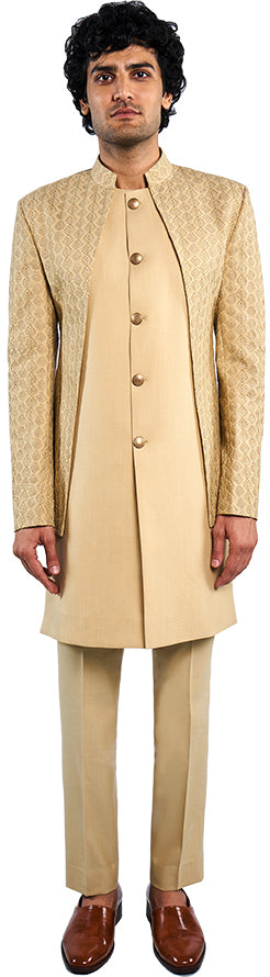 Beige Open Jacket & Long Bandi Ensemble