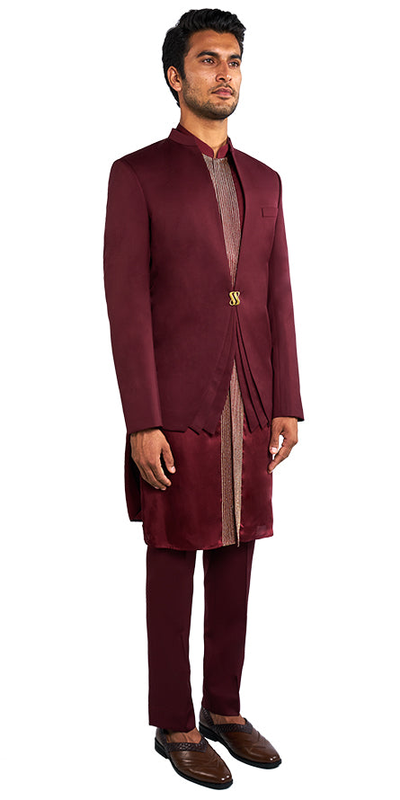 Burgundy Bandhgala Ensemble