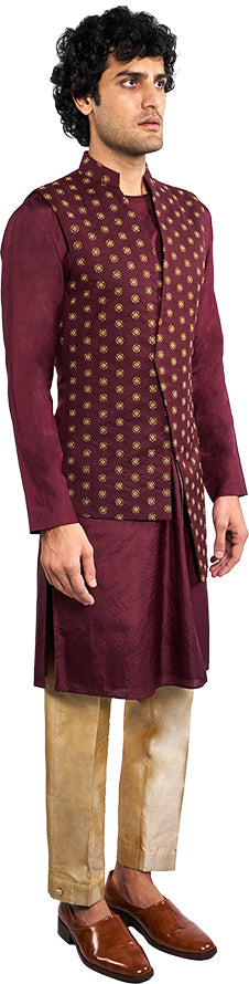 Burgundy Bandi & Kurta Ensemble