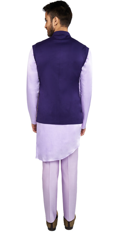 Purple Bandi & Lavender Kurta Ensemble