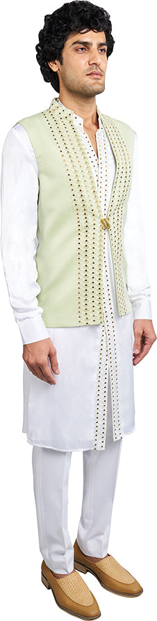 Mint Green Bandi & White Kurta Ensemble