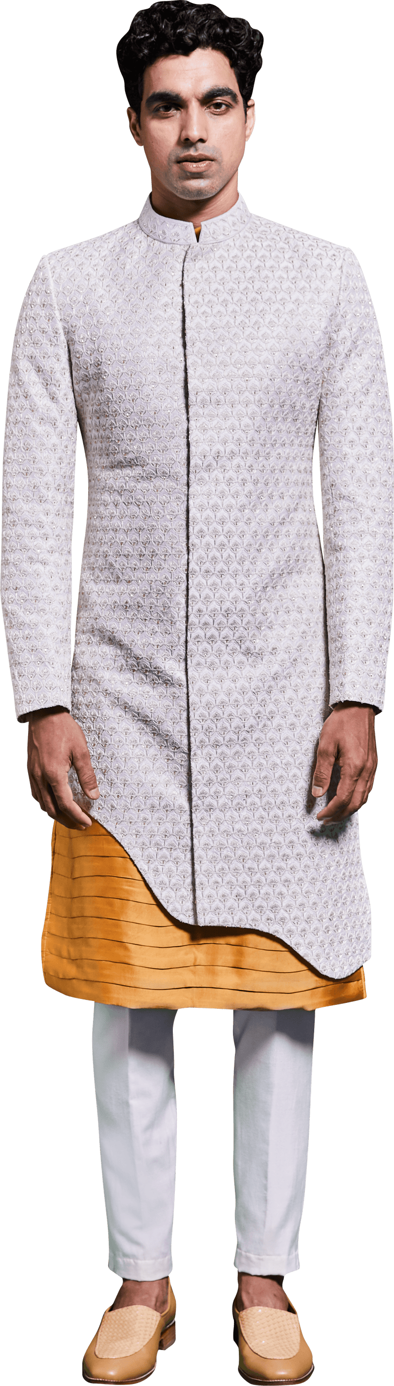 White Golden Sherwani & Kurta Ensemble