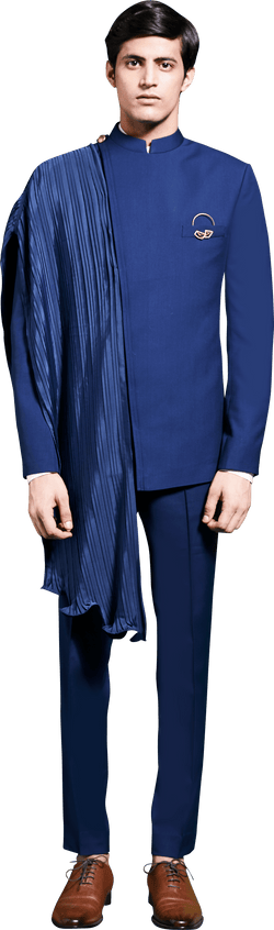 Blue Bandhgala with Pituck detail Ensemble