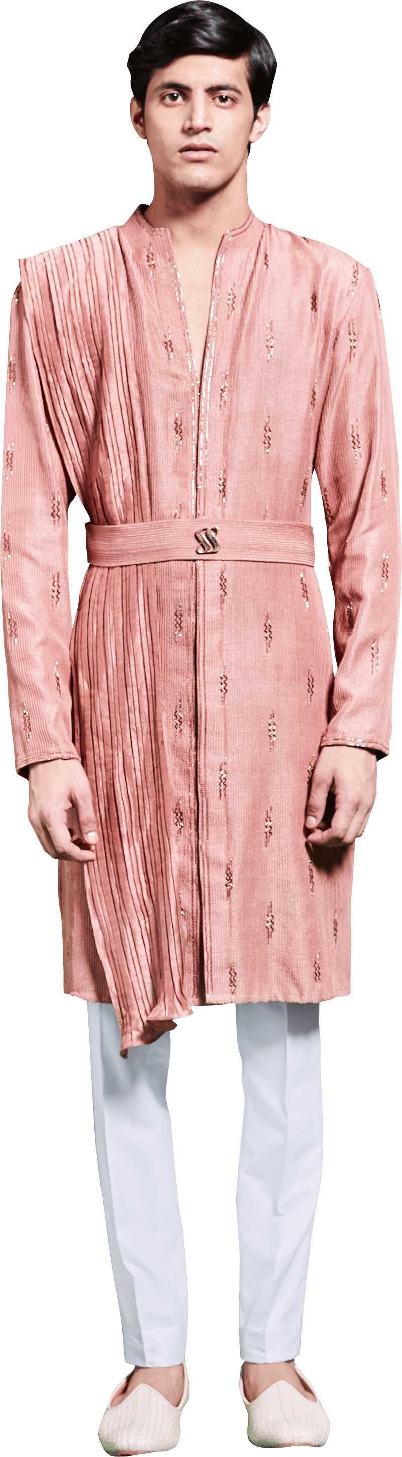 Peach Embroidered Kurta Ensemble