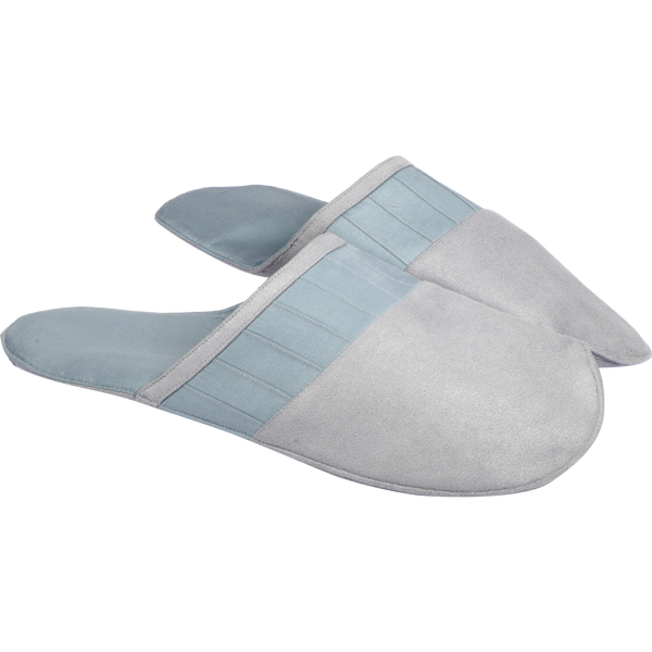 Blue Grey Velvet Slippers